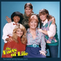 THE FACTS OF LIFE -- Pictured: (center) Nancy McKeon as Joanna 'Jo' Marie Polniaczek Bonner, Mindy Cohn as Natalie Letisha Sage Green, Charlotte Rae as Mrs. Edna Ann Garrett, Lisa Whelchel as Blair Warner, Kim Fields as Dorothy 'Tootie' Ramsey -- Photo by: Frank Carroll/NBCU Photo Bank