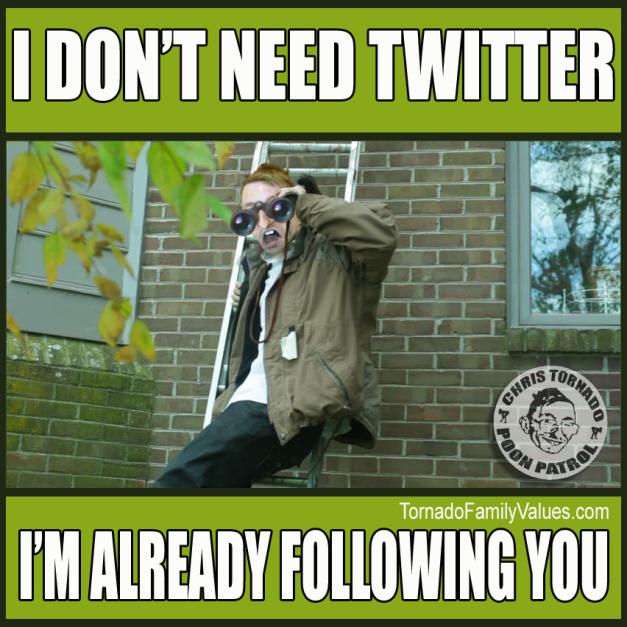Twitter stalker Chris Tornado Peeping Tom